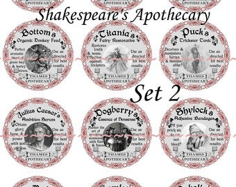 """Apothecary Labels, Shakespear Labels, apothecary labels pins or magnets,  1"""" or 2.25"""" Pins or Magnets Available, Gift Sets, Party Favors"""