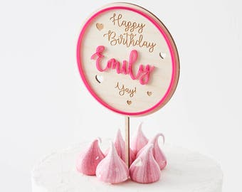 Personalised Colour Pop Birthday Cake Topper