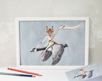 Illustration artwork print of Meg the goose carrying Quince the Fox. Animal childrens print/ nursery print/ home decor/print for your office