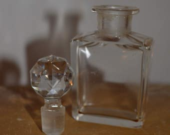 Vintage Clear Perfume Bottle w/ Crystal Faceted Stopper