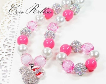 "16"" Pink Pearl Chunky Bubblegum Minnie Mouse Necklace / Bracelet Set for Kid Child baby E09"