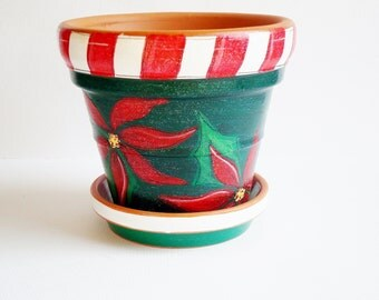 "Hand Painted Poinsettia Pot and Tray Set, 5 Inch Terracotta Pot ""Holiday Sparkle"" Hostess Gift,  Ready to Ship"