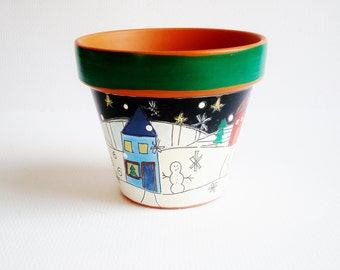 "Holiday Decor, 3 Inch Terracotta Pot, ""Merry And Bright"" Teacher's Gift, Under 15- Ready to Ship Gift"