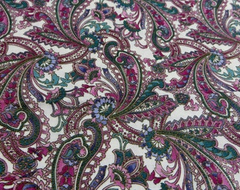 Hoffman International Fabric Woodblocks Paisley Greens and Pinks and Shimmery Gold One Yard