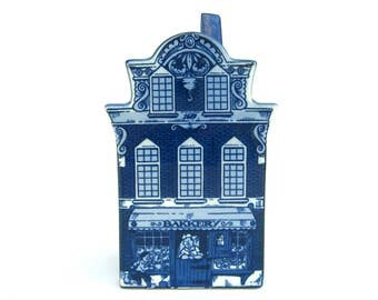 Vintage Delft Blue Canal House Bank, Bakery, Blue and White Handpainted, Holland Knick Knack