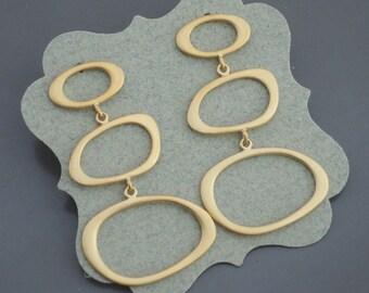 Gold Earrings - Mid Century Modern Earrings - Geometric Earrings - Stud Earrings - Handmade Earrings