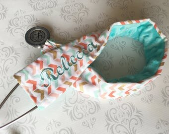 Personalized Stethoscope Cover - Gift for a Nurse, RN, EMT, Doctor, Medical Assistant, Stethoscope ID - Tiny Aqua and Gold Chevron with Aqua