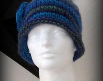 knit hat - knit cap - hand knit hat - beanie - wool knit hat - knit beanie - Merino wool knit hat - Blue wool hat - blue blend merino knit