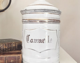 Antique French Enamel Canister - Cinnamon