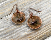 Hammered Upcycled Copper and Black Pearl Earrings - Reclamied Copper Hammered and Natural Black Pearls Metal Earring Set - ReaganJuel