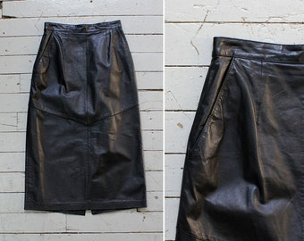 Soft Leather Pencil Skirt S/M • Black Leather Skirt • Black Pencil Skirt • Midi Skirt with Pockets • Winter Skirt • 80s Skirt | SK680