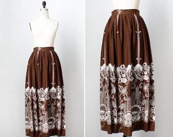 Floral Maxi Skirt S • 60s Skirt • Vintage Skirt • Boho Maxi Skirt • 70s Skirt • Floral Skirt • Brown Skirt • High Waisted Skirt | SK735