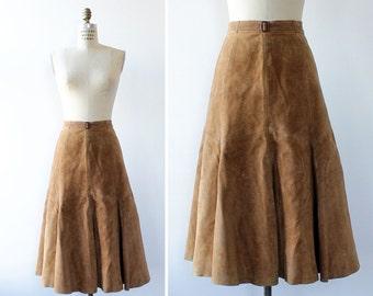 Brown Suede Skirt S • 70s Skirt • Trumpet Skirt • High Waisted Skirt • Fit and Flare Skirt • Flared Skirt • Brown Leather Midi Skirt | SK781