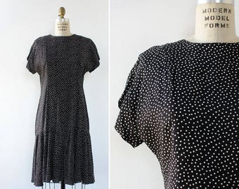 Drop Waist Dress S/M • Polka Dot Dress • Blue and White Dress • Cap Sleeve Dress • Swing Dress • Knee Length Dress   D1168