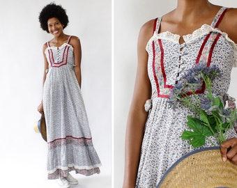 Ditsy Floral Dress XS/S • 70s Maxi Dress • Summer Cotton Dress • Prairie Dress • Empire Waist Maxi Dress • Vintage Cotton Dress | D895