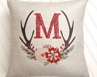 Personalized Pillow - Christmas Pillow Cover - Antler Wreath - Christmas Decor - Rustic Decor - 18x18 - Faux Linen - Personalized Gift