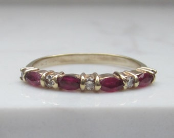 Vintage Diamond and Ruby Wedding Band set in 14k Solid Yellow Gold, Size 7