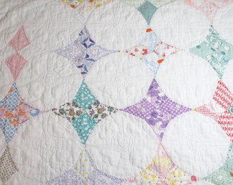 "Lovely Soft, Faded ""Hummingbird"" Vintage Quilt Piece with Dense Quilting Including Flowers — 23 x 22 Inches"