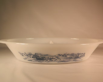Vintage Currier and Ives Sleigh Ride Glassbake Divided Dish Holiday Winter Serving Dish Milk Glass
