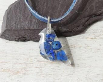 Blue Bird Necklace, Lapiz Lazuli Resin Bird Pendant, Lapiz Lazuli Jewellery, Bird Jewellery, Resin Jewellery, UK, 1312b