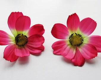1 Pair Magenta Pink Cosmos flower Hair Clip 2.50 inches (6.50 cm.)