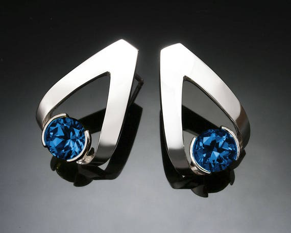 London blue topaz earrings, blue topaz earrings, Argentium silver, artisan earrings, December birthstone, deep blue, modern jewelry - 2470