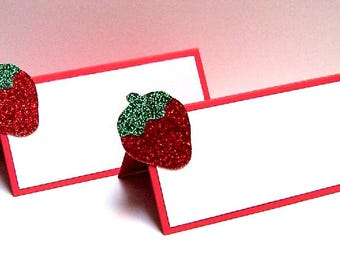 Set of 10 Strawberry Place Cards