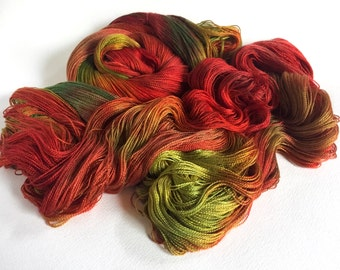 Cashmere Silk Lace Yarn.  Yule Fires