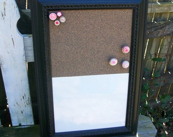 Ornate Black Framed Memo Cork Board and Dry Erase Board Wall Decor Shabby Chic French Chic Cottage Decor
