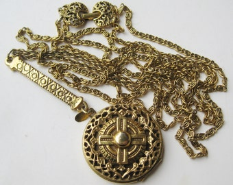 Vintage 50s Goldette Double Strand Gold Charm Locket Pendant Chain Necklace