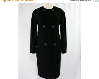 Size 8 Textured Black 1960s Coat - Lightweight Dress Fabric - Long Sleeved - Double Breasted - Fall - Classic 60s Outerwear - 44714