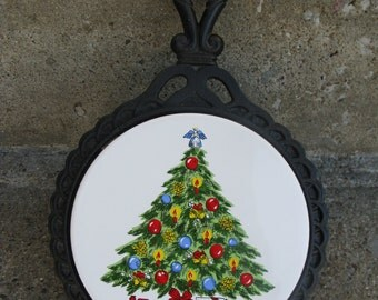 Christmas trivet cast iron larger size Christmas tree trivet gift idea hostess gift