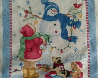Daisy Kingdom Bestest Friends Quick Quilt Pre Printed Fabric Panel X0681 Snowman, Winter, Christmas