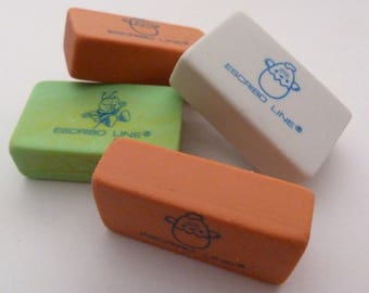 3 x ESCRIBO LINE ERASER Set - Desk supplies from Spain - Spanish Rubbers and erasers