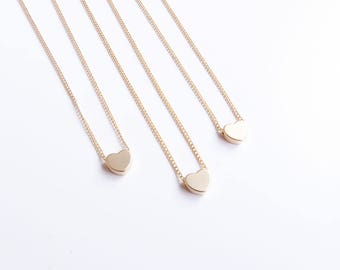 Dainty Heart Necklace, Tiny Silver Heart Necklace, Dainty Gold Necklace, Delicate Necklace, Gift For Mom, Gift For Grandmother