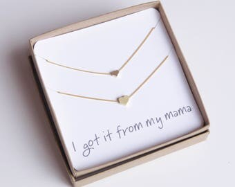 Mom and Me Necklace | Dainty Heart Necklace | Tiny Heart Necklace | Mom Necklace Gold | Tiny Mom Necklace | Dainty Mom Necklace