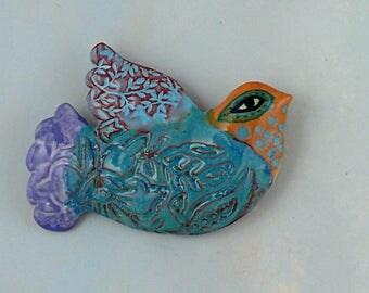 Ceramic Wall Art, ceramic bird, blue glazed pottery bird