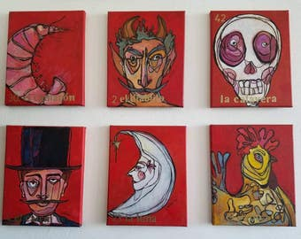 SET of SIX  8x10 original  acrylic paintings on canvas - LOTERIA art - mexican bingo