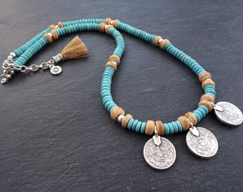Turquoise Silver Coin Tassel Layer Necklace - Blue Stone Wood Beads Hippie Bohemian Artisan