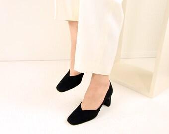 VINTAGE Giorgio Armani Shoes 1990s Black Heels Size 5