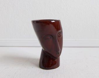 VINTAGE Face Sculpture Ceramic Art Dish