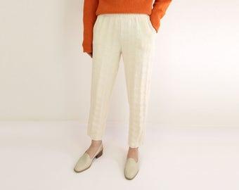 VINTAGE Knit Pants Cream Short