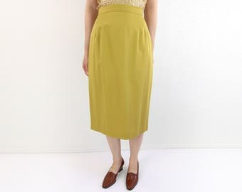 VINTAGE Chartreuse Skirt 1980s Pencil Skirt