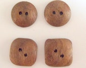 """3/4"""" Walnut Wood Buttons Round / Square Buttons Handmade in the USA Craft Supplies Knitting Supplies Sewing Supply"""