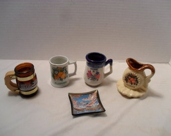 Lot of 5 Vintage Miniature Mixed State Souvenirs Mugs Pitcher Ash Tray Ring Dish