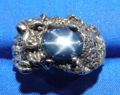 Natural Blue Star Sapphire Dragon Ring, Hand Crafted Recycled Sterling Silver