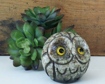 Vintage Carved Owl Paperweight