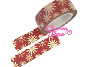 Daisy flower Washi Tape Full Roll 15mm x10 meters WT346