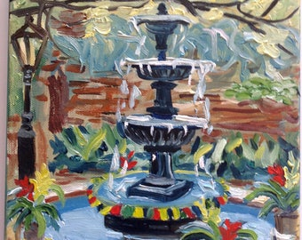 Court of Two Sisters Fountain | 8 x 10 print of oil painting Louisiana Artist Kristi Jones Impressionism | French Quarter | New Orleans art