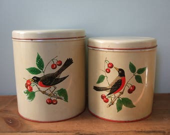 Vintage Robin in Cherry Tree Canister Tin Set of 2 by Maid of Honor